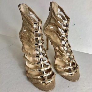 NEW Vince Camuto Troy Gladiator Gold Camo Leather